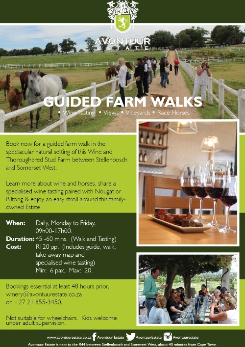 Avontuur Estate Guided Farm Walk Poster smaller